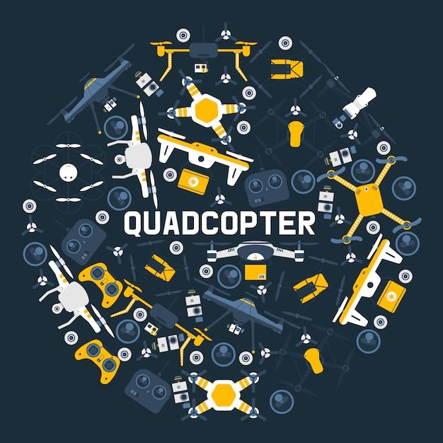 Quadrocoptersラウンドパターンエアドローン、およびリモートコントロールドローンワイヤレスフライト空中ロボットフライイノベーション無人カメラガジェット。 Premiumベクター