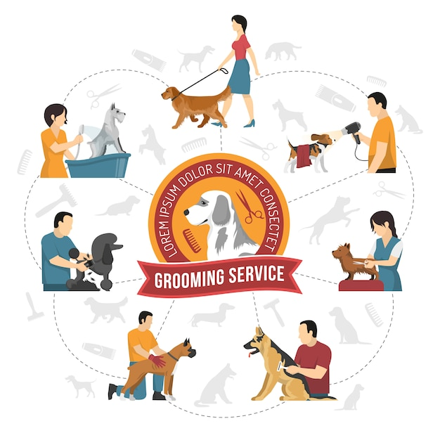 Qualified grooming service Free Vector