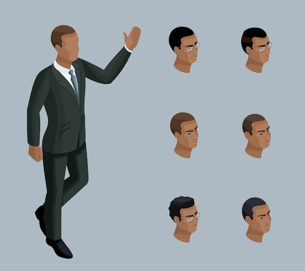 Qualitative isometry, a  businessman, a man of african american. character, with a set of emotions and hairstyles for creating illustrations Premium Vector