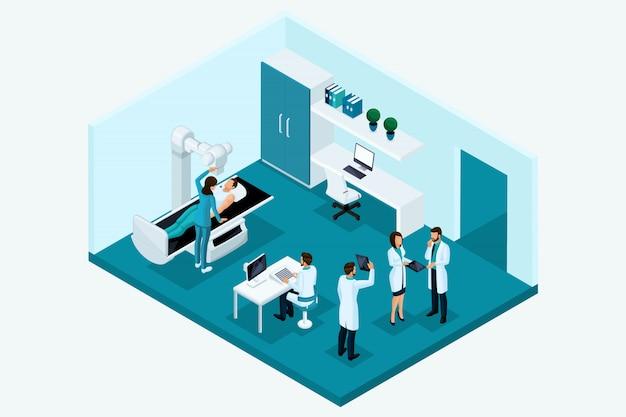 定性的アイソメトリ、文字。 x線室のコンセプト。医師会、装置に関する患者の研究、分析の研究 Premiumベクター