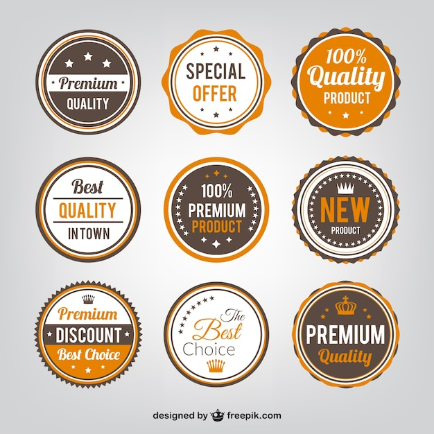 Quality badges collection Free Vector