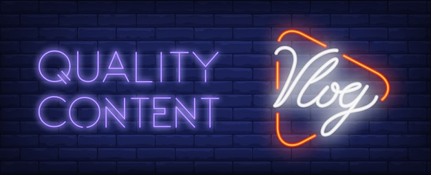 Quality content of vlog neon sign. player button with text on dark brick wall. Free Vector