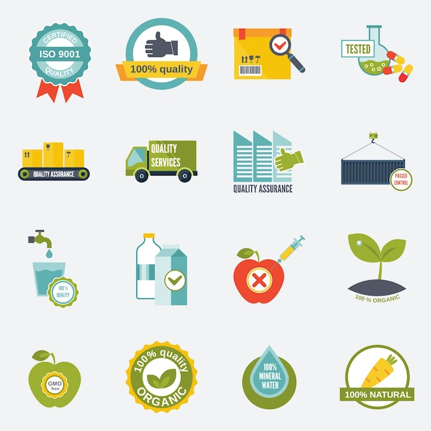 Quality control certified quality test services icons flat set isolated vector illustration Free Vector
