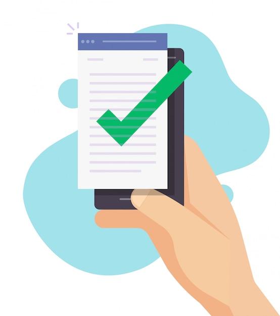 携帯電話・スマートフォンでのテキスト書き込み・チェックマーク作成の品質管理 Premiumベクター