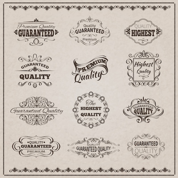 Quality Emblems Set Free Vector