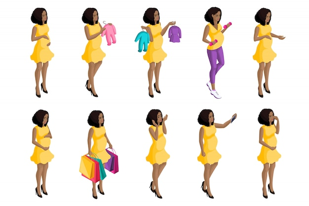 Quality isometry,  pregnant african american girl, a large set of pregnant women for  illustrations, preparing for the birth of a child Premium Vector