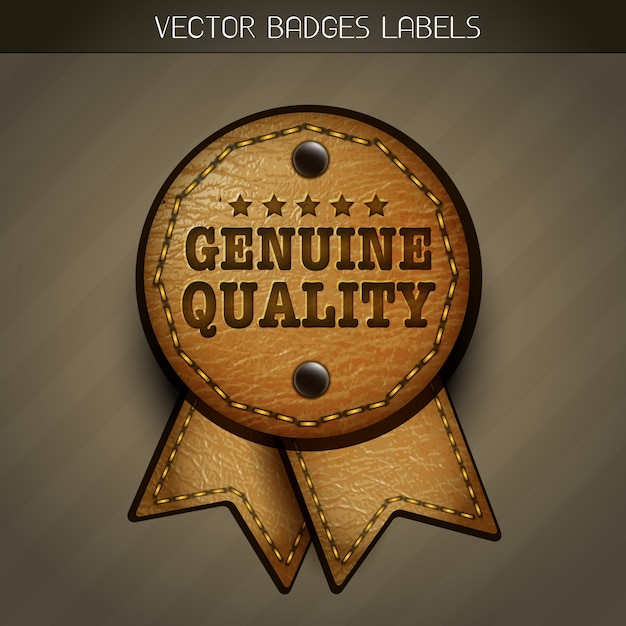 Quality leather label Free Vector