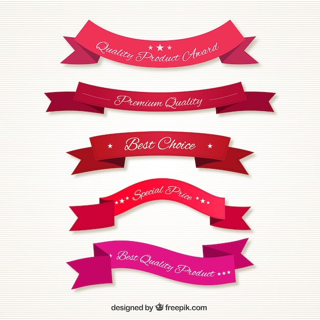 Quality ribbons in red tones Free Vector