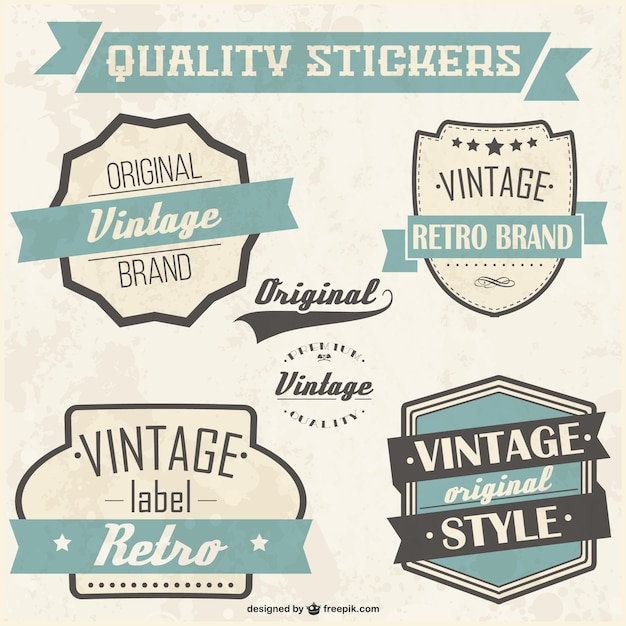 Quality stickers set Free Vector