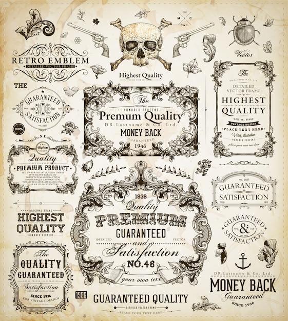 Quality vintage certificate pattern classic Premium Vector