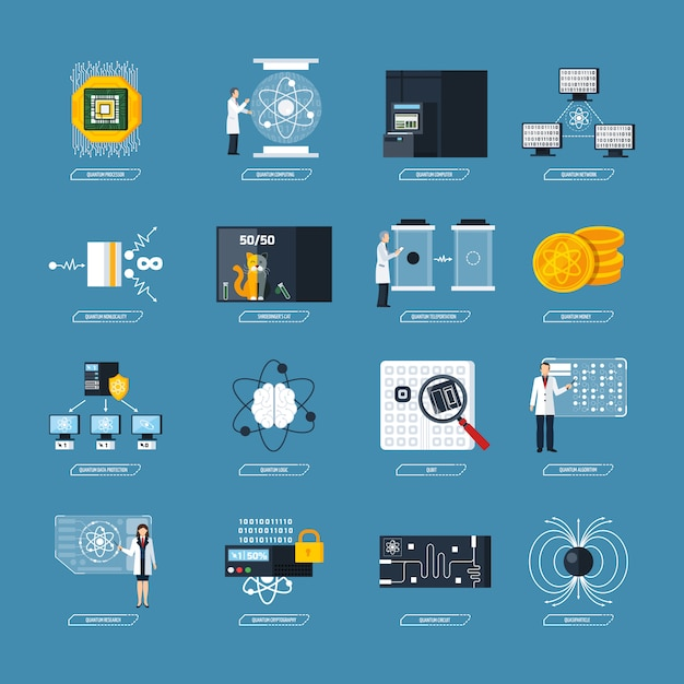 Quantum computing flat icons Free Vector