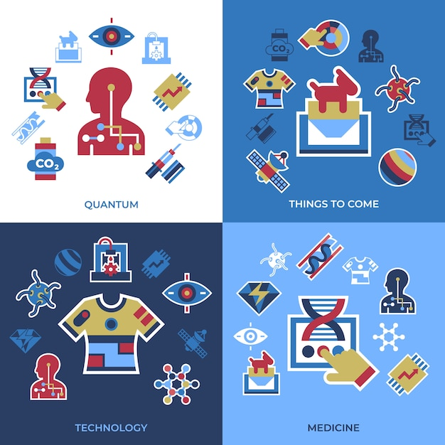 Quantum things to come technology icons set Premium Vector