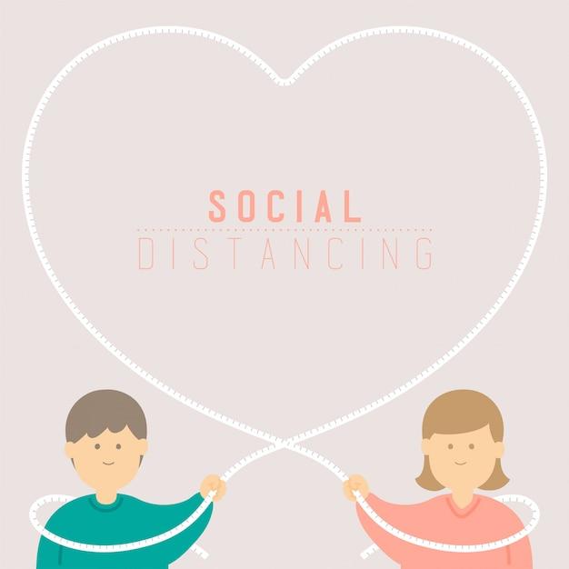 Карантин мужчина и женщина с любовью рамка ленты измерения держите расстояние до защиты вспышка covid-19 социальное дистанцирование пребывания дома Premium векторы