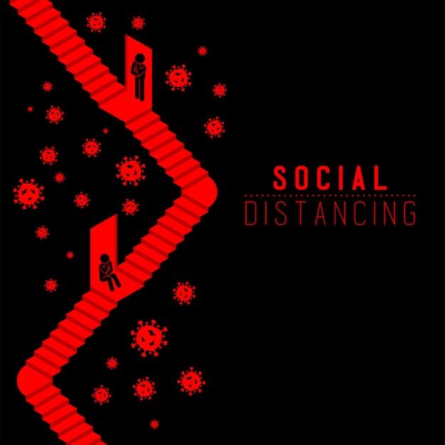 Карантин человек подписать пиктограмму за дверью с лестницей держать расстояние до защиты вирусная вспышка covid-19, социальное дистанцирование остаться дома Premium векторы