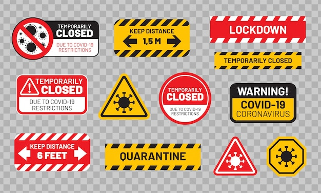 Quarantine sign set for covid-19 (coronavirus). stickers or labels