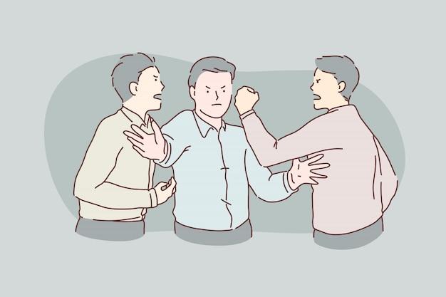 Quarrel, fight, showdown, hatred, conflict concept. Premium Vector