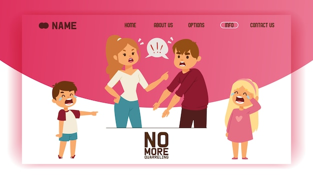 Quarrel landing page people man woman in family conflict crying children boy girl. Premium Vector