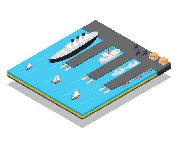 Quay concept scene Premium Vector