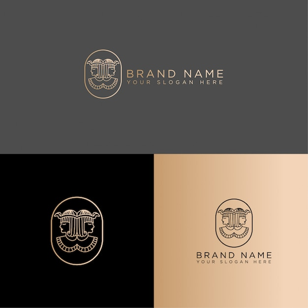 Queen cleopatra line art logo editable template ancient egyptian pharaoh Premium Vector