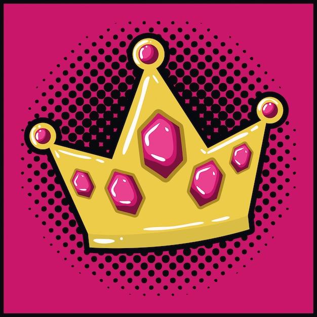 Queen crown pop art style Premium Vector