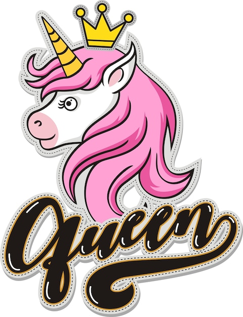 Queen, cute unicorn with crown Premium Vector