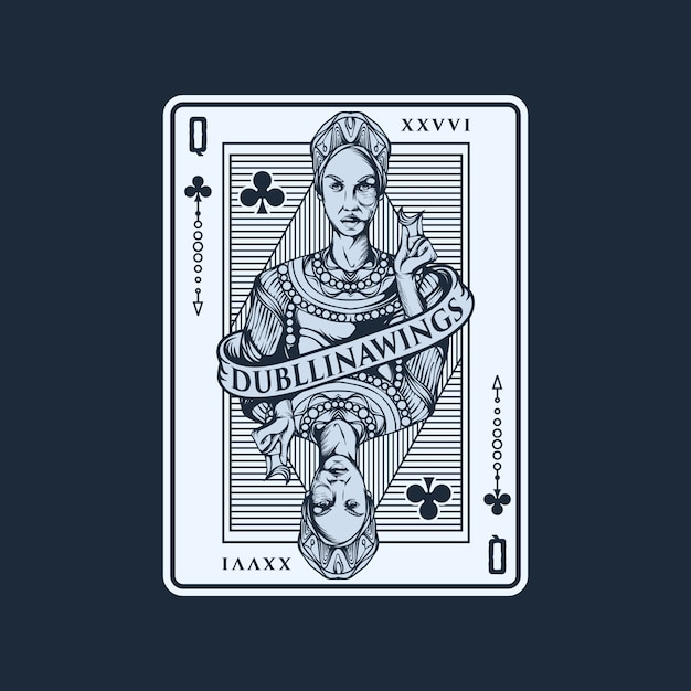 Queen playing card illustration template Premium Vector