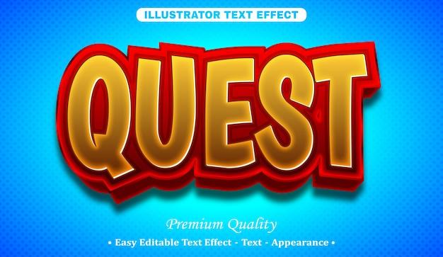 Quest 3d editable text style effect Premium Vector