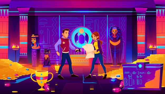 Quest escape room, egypt pharaoh tomb with people. Free Vector