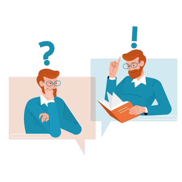Question and answer concept. people icons with colorful dialog speech bubbles. Premium Vector