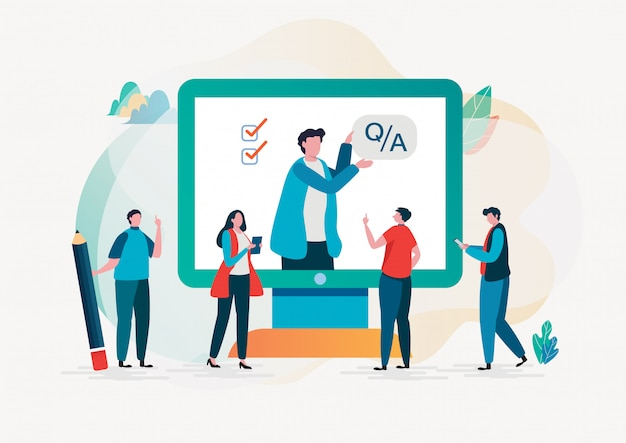 Question and answer. online survey. Premium Vector