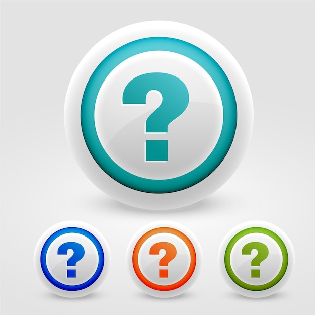 Pulsanti punto interrogativo per aiuto e supporto web scopo Vettore gratuito