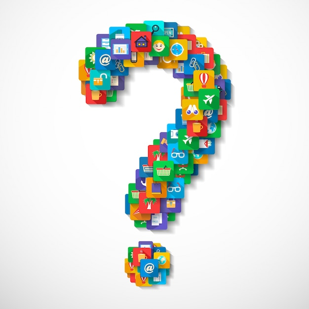 Question mark made of mobile application travel icons concept vector illustration Free Vector
