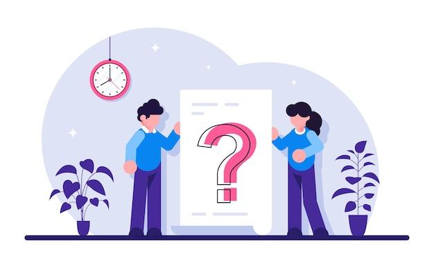 Вопросительный знак на документе. деловая женщина и мужчина задают вопросы вокруг огромного вопросительного знака на бумаге. Premium векторы