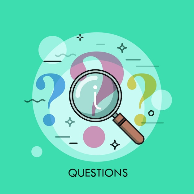 Question mark under review with magnifying glass thin line illustration Premium Vector