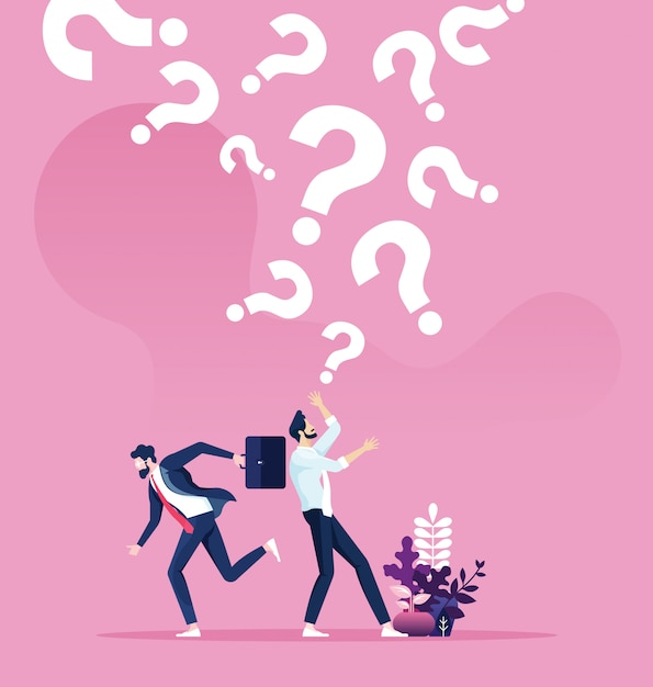 Question marks falling on a businessman. business concept vector Premium Vector