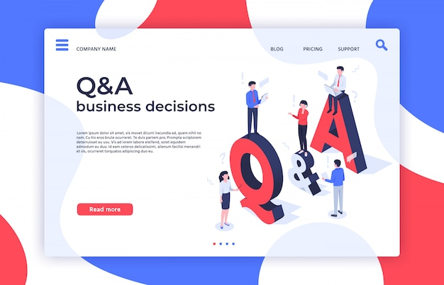 Questions and answers. find decision, problem solving and qa business decisions landing page isometric  illustration Premium Vector