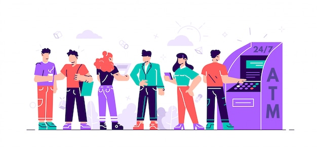 Queue at the atm. business woman and man are standing in line.  illustration, perform financial transactions using atm for web page, social media. people are waiting in line near atm machine. Premium Vector