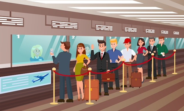 Queue for boarding registration flat illustration. Premium Vector