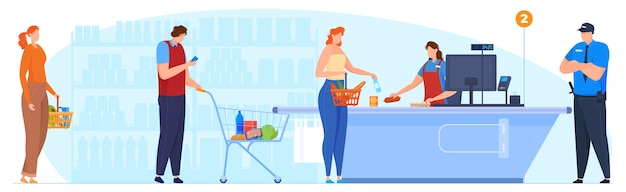 The queue at the checkout in the supermarket, the cashier accepts the goods, the security guard monitors the order in the supermarket. vector illustration Premium Vector