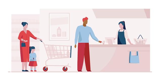 Coda alla cassa nel modello di pagina di destinazione del supermercato Vettore gratuito