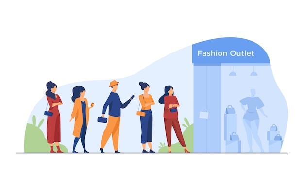 Queue of customers standing for sale at boutique window Free Vector