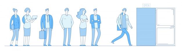 Queue at door. adult people customers group in casual clothes standing in long line queue outside open door.  concept Premium Vector