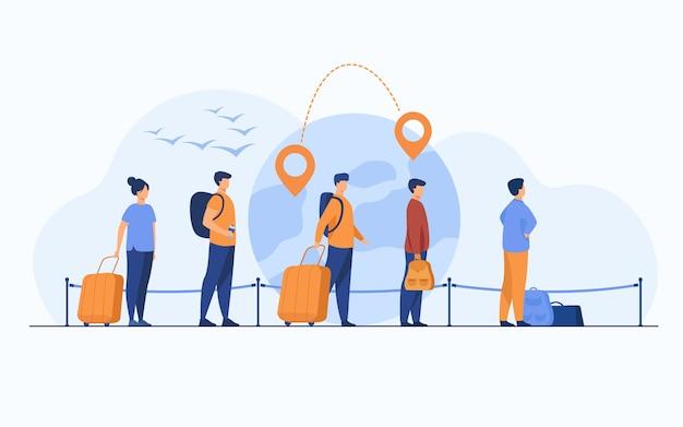 空港での出発を待って、荷物を持って立っている移民の列。地球儀、地図ポインター、目的地の線を背景にした観光客のグループ。旅行や移民の概念のために 無料ベクター