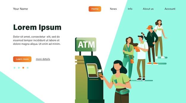 Atmを使用するために立っている人々のキュー。銀行の顧客がクレジットカードをスロットに挿入して取引します。ビジネス、銀行、金融の概念のベクトルイラスト 無料ベクター