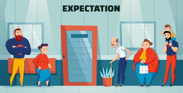 Состав врача больницы людей очереди с заголовком ожидания и различным возрастом и потребностями людей, ждущих в очереди Бесплатные векторы