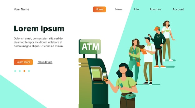 Queue of people standing for using atm. bank customer inserting credit card to slot for transaction. vector illustration for business, banking, finance concept Free Vector