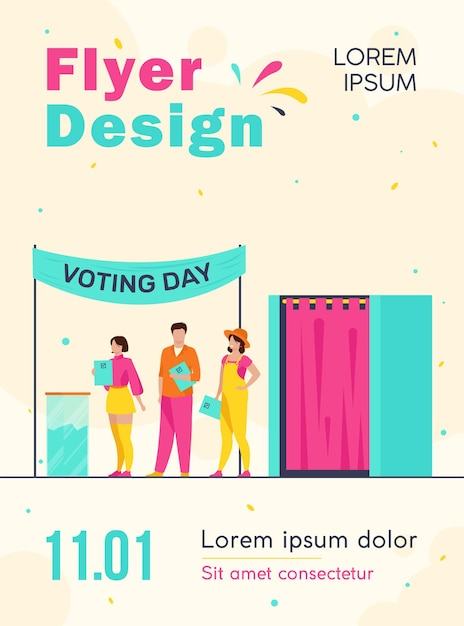Queue of people with paper at ballot boxes flyer template Free Vector