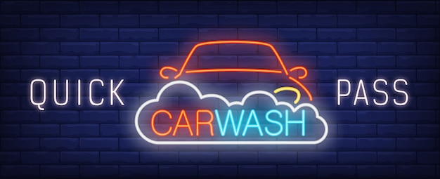 Quick pass car wash neon sign. automobile in foam and colorful inscription. Free Vector