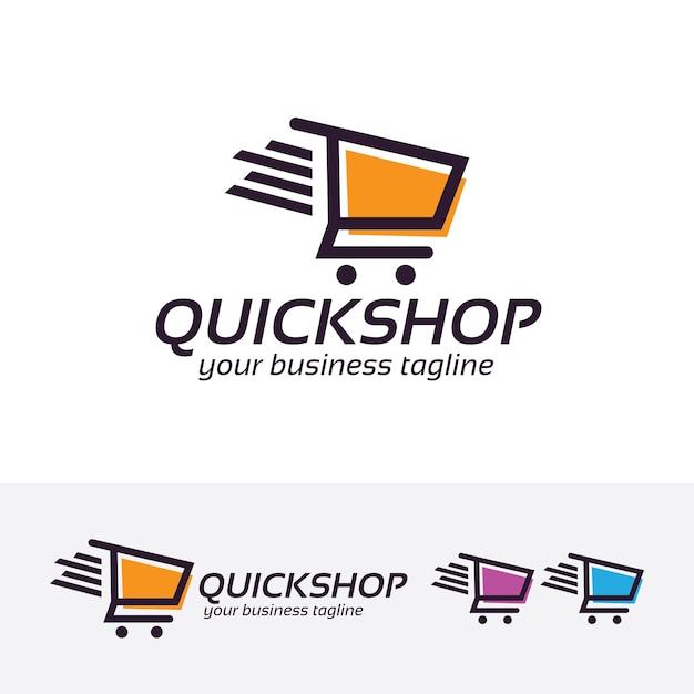 Quick shopping vector logo template Premium Vector