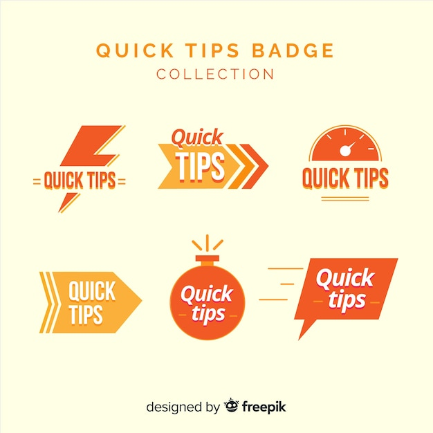 Quick tips badge collection Free Vector